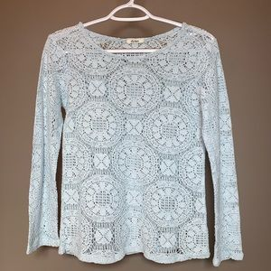 Tops - Ice Blue Knit See Through Long Sleeve